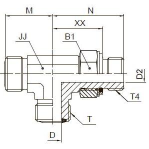R4OMLO Проходной тройник ввертной регулируемый с наружной резьбой. Сталь