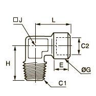 1844 Компрессионное колено для труб равного сечения, наружная резьба BSPT/внутренняя BSPP