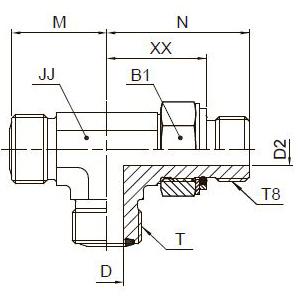 R8OMLO Проходной тройник ввертной регулируемый с наружной резьбой