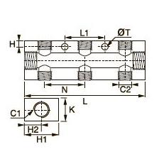 3313 Двухсторонний коллектор, внутренняя резьба BSPP
