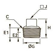 0209 Внутренняя заглушка с квадратной головкой, наружная резьба BSPT