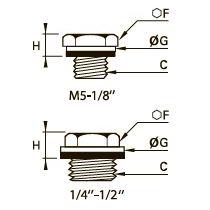 0220 Заглушка с шестигранной головкой, резьба BSPP и метрическая