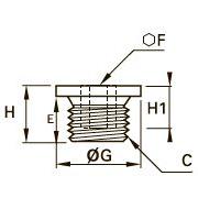 0202 Внутренняя заглушка с шестигранной головкой и кольцевым выступом, наружная метрическая резьба