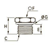 0210 Заглушка с шестигранной головкой, резьба BSPP и метрическая