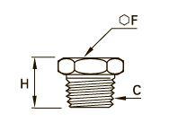0216 Внутренняя заглушка с шестигранной головкой, наружная резьба BSPT