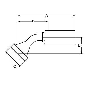 1178X / 117NX – Фланец стандарта SAE, код 61, угловой фитинг 45° ISO 12151-3