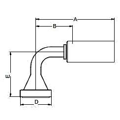 1198X / 119NX – Фланец стандарта SAE, код 61, угловой фитинг 90° ISO 12151-3