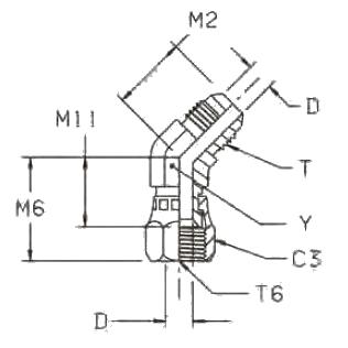V6MX Фитинг угловой 45°. Сталь