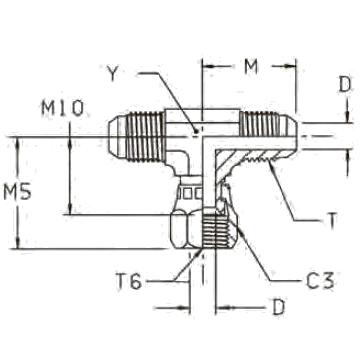 S6MX Тройник-ответвитель со стяжной гайкой. Сталь