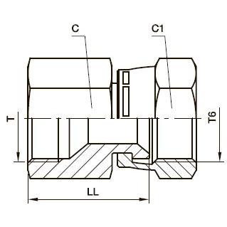 BBMTX Соединитель с внутр. резьбой поворотный. Сталь
