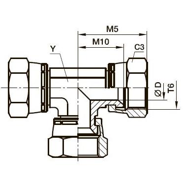 JX6 Тройник соединительный со стяжными гайками. Сталь