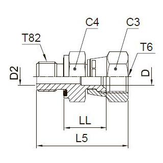 F682EDMX Ввертной фитинг со стяжной гайкой. Сталь