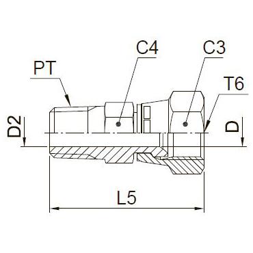 F6MX Ввертной фитинг со стяжной гайкой. Сталь