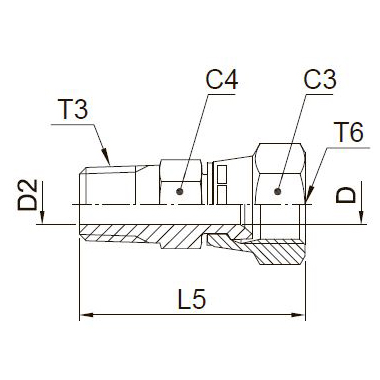 F63MX Ввертной фитинг со стяжной гайкой. Сталь