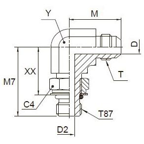 C87OMX Ввертной угловой фитинг. Сталь
