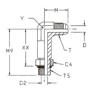 CC5OX Ввертной угловой удлинённый фитинг. Сталь