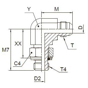 C4OMX Ввертной угловой фитинг. Сталь