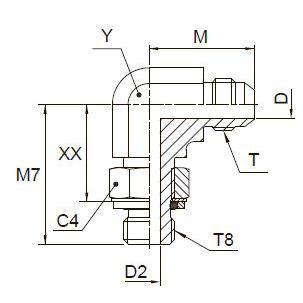 C8OMX Ввертной угловой фитинг. Сталь
