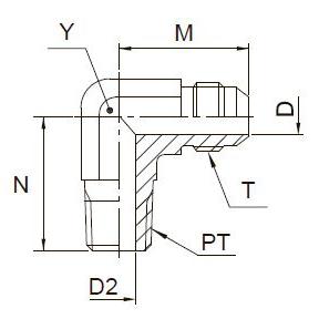CMTX Ввертной угловой фитинг. Сталь