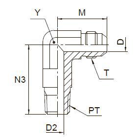 CCTX Ввертной угловой удлинённый фитинг. Сталь