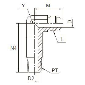 CCCTX Ввертной угловой удлинённый фитинг. Сталь
