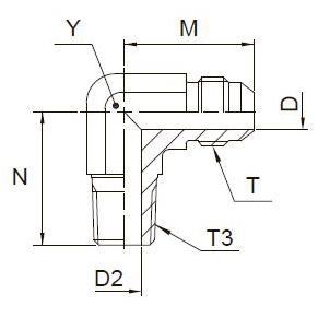 C3MX Ввертной угловой фитинг. Сталь