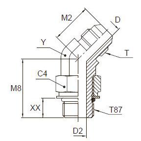 V87OMX Ввертной угловой фитинг 45°. Сталь