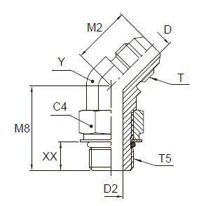 V5OMX Ввертной угловой фитинг 45°. Сталь