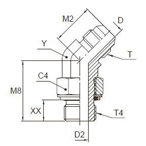 V4OMX Ввертной угловой фитинг 45°. Сталь