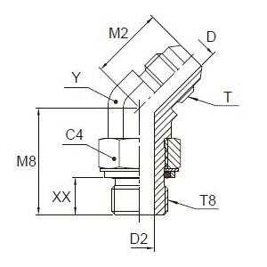 V8OMX Ввертной угловой фитинг 45°. Сталь