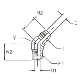 VMTX Ввертной угловой фитинг 45°. Сталь