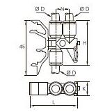 3381 Соединитель трех трубок для монтажа на DIN-рейку