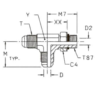 R87OMX Ввертной проходной тройник. Сталь