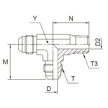 R3MX Ввертной проходной тройник. Сталь