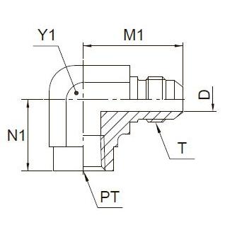 DMTX Угловой фитинг с внутренней резьбой. Сталь