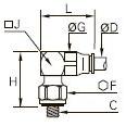 3299 Компактный угловой ввертный штуцер, наружная метрическая резьба
