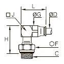 3229 Удлиненный угловой ввертный штуцер, наружная метрическая резьба