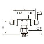 3298 Тройник ввертный симметричный, наружная метрическая резьба