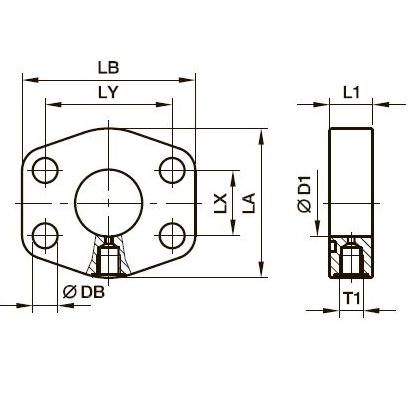 PAGL-(G/M) SAE фланец на 4 болтах с отверстием для контрольной точки