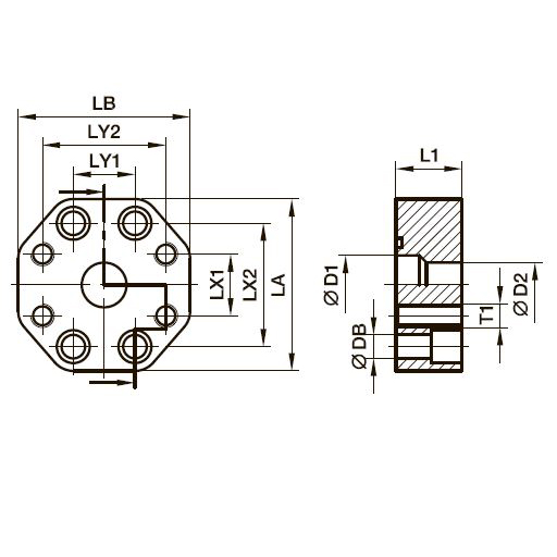 PRF SAE Прямой редукторный фланцевый переходник