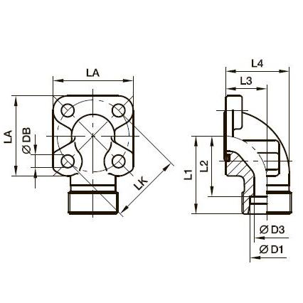 BFW Фланец для шестерённых насосов угловой 90°
