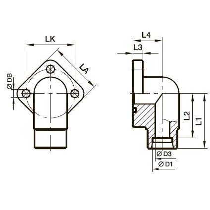BFW3 Фланец для шестерённых насосов угловой 90° с 3 отверстиями