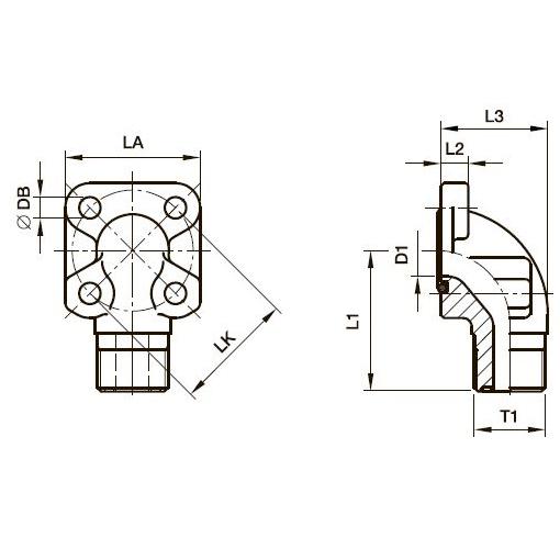 BFWL Фланец для шестерённых насосов угловой 90°