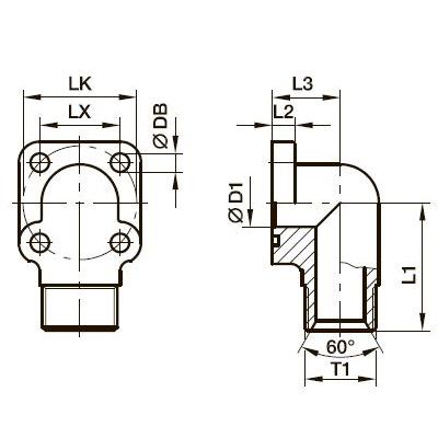 BFW-G Фланец для шестерённых насосов угловой 90°