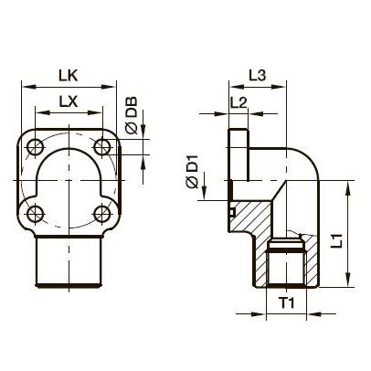 BFW-GI Фланец для шестерённых насосов угловой 90°