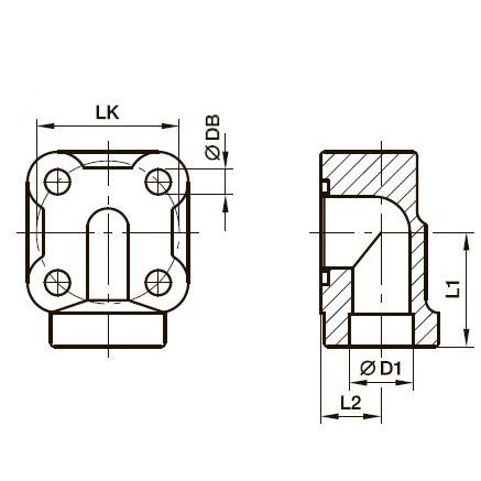 BFW-S Фланец для шестерённых насосов угловой 90°