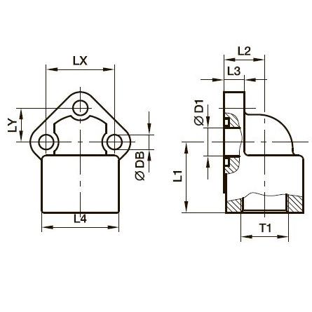 BFW3-G Фланец для шестерённых насосов угловой 90° с 3 отверстиями