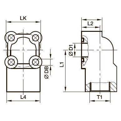 PWDS-G Фланец для шестерённых насосов угловой 90° с 4 отверстиями – алюминий