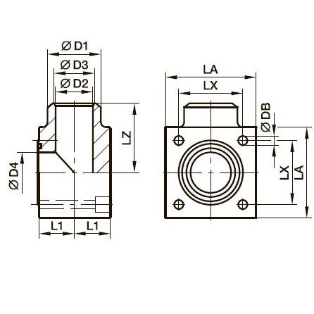 PLCF-B Соединение для углового прямоугольного фланца Cetop 90°