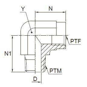 CDM Угловой переходник с внутренней и наружной резьбой. Нерж. сталь